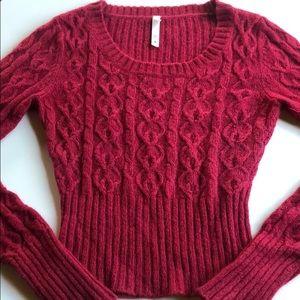 Lilu   Red Angora Wool Knit Sweater   Medium